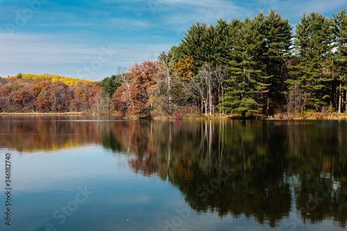 Photo Reflections of the shoreline in late autumn on Allen Lake within Hartman Creek State Park, Waupaca, Wisconsin