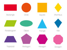 Geometric Shapes With Labels. Set Of 12 Basic Shapes. Simple Flat Vector Illustration