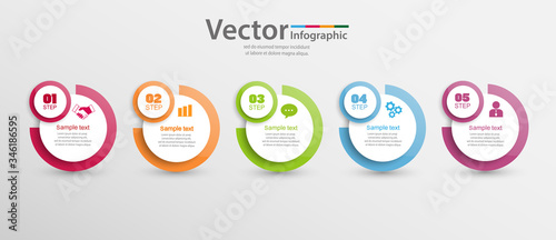 Fototapeta Vector infographics template with 5 steps, options, workflow, process chart obraz