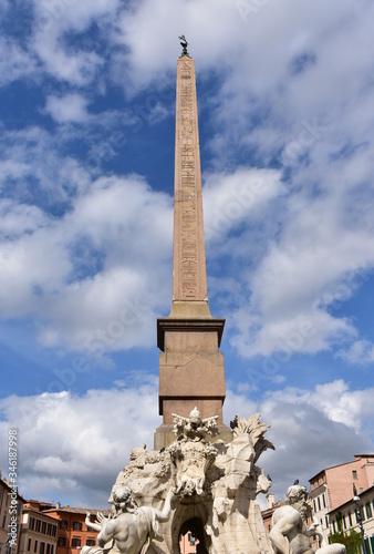Obraz na plátně Fontana dei Quattro Fiumi and Domitian Obelisk at Piazza Navona