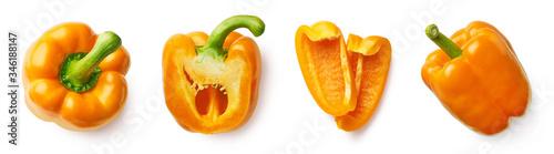 Tela Set of fresh whole and sliced sweet pepper
