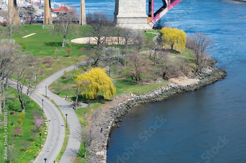 Waterfront and Trails along the East River at Randalls and Wards Islands in New York City
