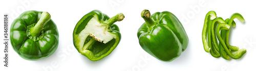 Fotografia Set of fresh whole and sliced sweet pepper