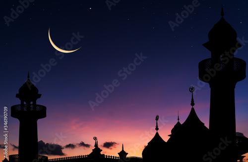 Carta da parati silhouette of mosque in the night and crescent moon in Ramadan month