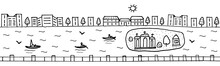 Seamless Horizontal Urban Landscape City And River Ready For Footer Or Header Web Site Or Landing Page Design. Set Of Vector Illustration Doodle Black And White Isolated On White Background
