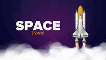 Space Trip. Purple Banner On T...