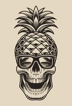 Vector Illustration Skull Pine...