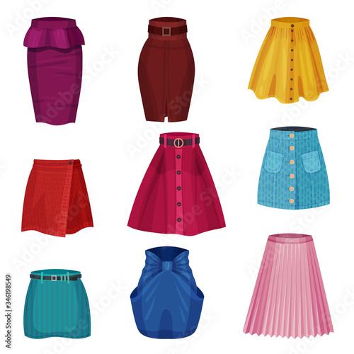 Different Skirt Models with Flared Skirt and Tube Skirt Vector Set Fototapeta