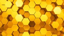 Geometric Hexagon Pattern Shape Block Wall Bump 3D Illustration Abstract Background.