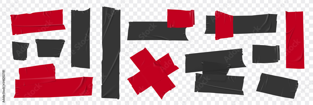 Fototapeta Set masking tape. Torn tape. Vector realistic black adhesive and red masking tape pieces. Isolated vector illustration