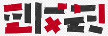 Set Masking Tape. Torn Tape. Vector Realistic Black Adhesive And Red Masking Tape Pieces. Isolated Vector Illustration