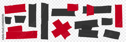 Obraz Set masking tape. Torn tape. Vector realistic black adhesive and red masking tape pieces. Isolated vector illustration - fototapety do salonu