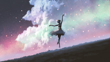 A Ballerina Dancing With Firef...