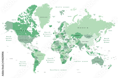 Fotografie, Tablou Illustration of a world map in shades of green, showing country names, State names (USA & Australia), capital cities, major lakes and oceans