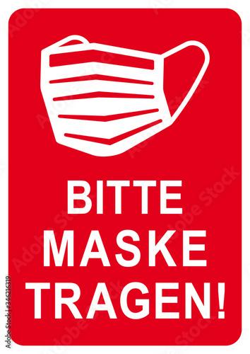 Photo ds180 DiskretionSchild - Zeichen in rot: Schild mit der Aufschrift Bitte Maske t