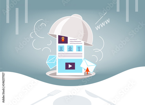 Valokuvatapetti Illustration on topic of satiety with hot news, information space, the Internet,