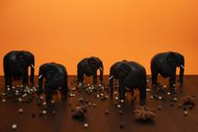 Black Wooden Elephants On A Br...