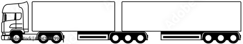 Photo Truck towing a B double semi-trailer - Double semi-trailer - truck 6x2 - semi-tr