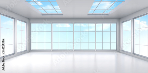 Obraz Empty office with large windows on ceiling and floor. Room interior in white colors. Internal structure of modern city architecture, inner design project visualization Realistic 3d vector illustration - fototapety do salonu