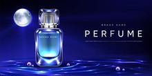 Perfume Bottle On Night Water ...