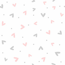 Cute Romantic Seamless Pattern. Simple Endless Print With Scattered Small Hearts And Dots. Vector Illustration.