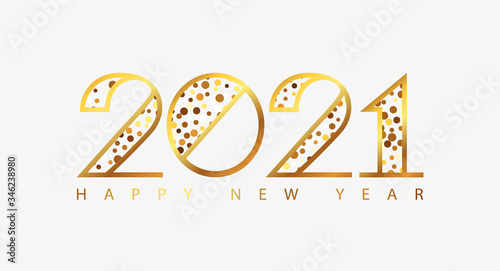 Fototapeta Happy New Year 2021 holiday greeting card with golden numbers. Merry Christmas and Happy New Year holiday symbol template. Vector background obraz