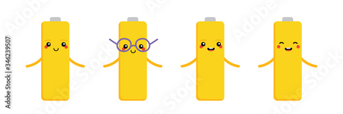 Set, collection of cute and happy cartoon style batteries, accumulators characters Canvas Print