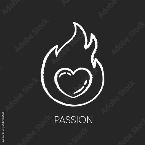 Passion chalk white icon on black background Canvas Print