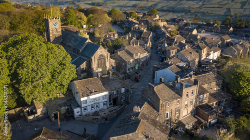 Vászonkép Aerial Shot of Haworth main street, near Keighley, West Yorkshire home of the Br