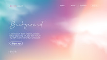 Background Abstract Sunset Like A Candy Sky. Unicorn Color With Cloud.