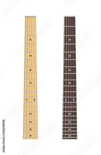 Fotografia, Obraz Maple and ebony guitar fingerboard isolated on white background, vector illustra