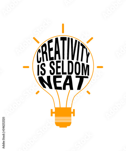 creativity is seldom neat text in a light bulb for concepts and creative ideas Canvas Print
