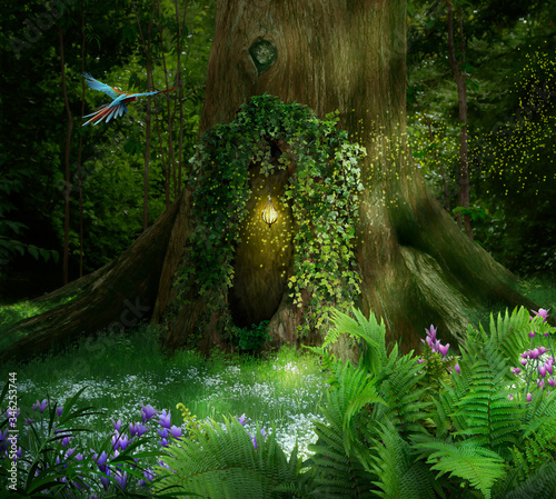Fantasy tree with a hole and lamp in a beautiful forest