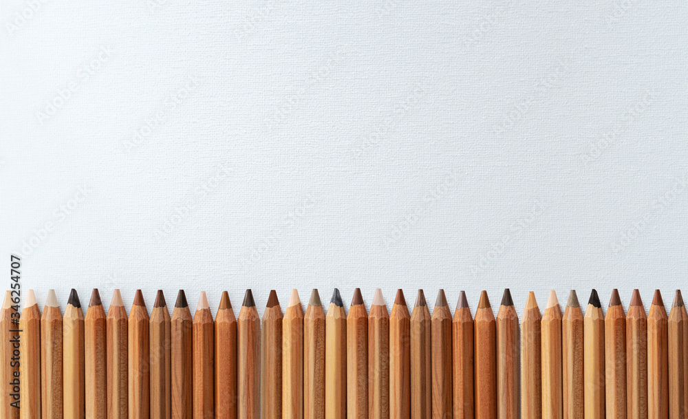 Fototapeta Many different color skin tone pencils aligned horizontally on a white canvas