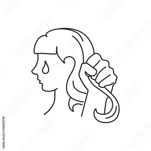 line icon, hand grabbed hair Canvas Print