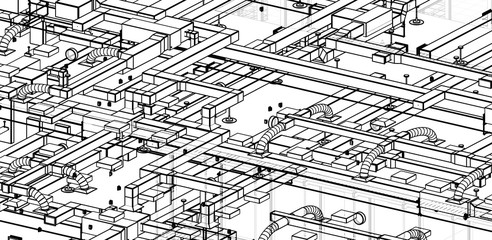 architectural isometric blueprint of  HVAC system in BIM