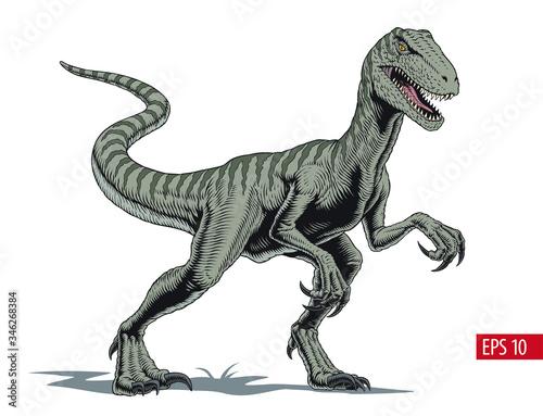 Velociraptor dinosaur, comic style vector illustration Wall mural
