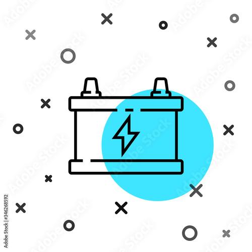 Photo Black line Car battery icon isolated on white background