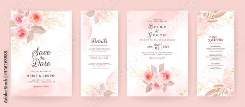 Foto Elegant wedding invitation card template set with watercolor and floral decoration