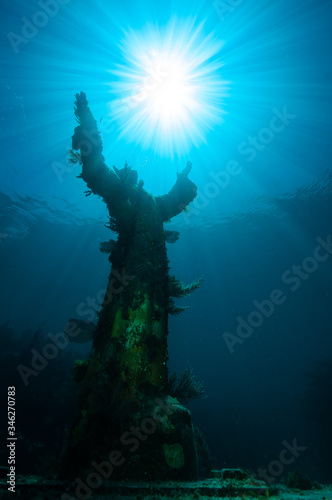 Christ of The Abyss statue in the Florida Keys Wallpaper Mural