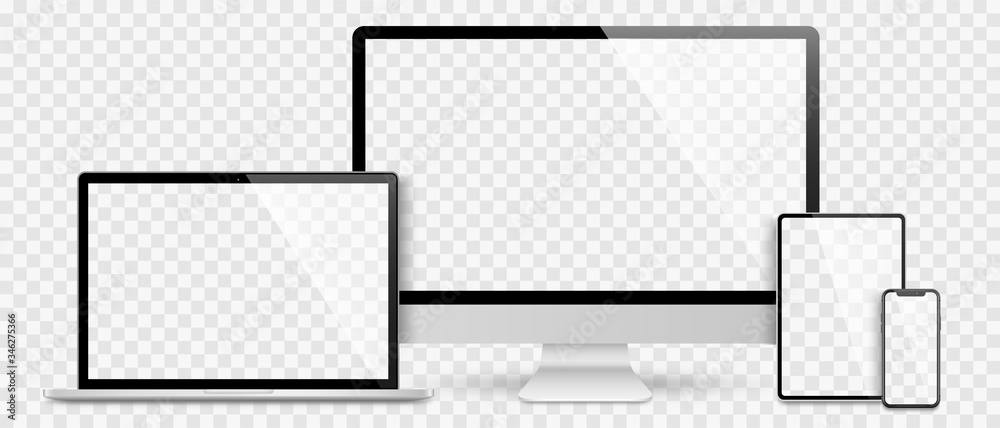 Fototapeta Realistic set computer, laptop, tablet and smartphone. Device screen mockup collection. Realistic mock up computer, laptop, tablet, phone with shadow- stock vector.