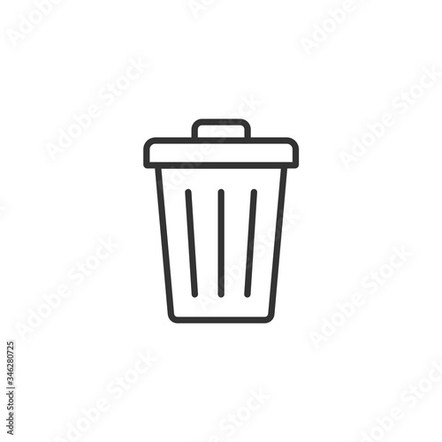 Fototapety, obrazy: Trash can line icon with editable stroke. Simple black outline flat style design. Isolated on white background. Vector illustration.