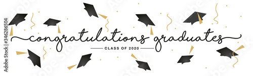 Class of 2020 Congratulations graduates handwritten typography lettering text li Canvas Print