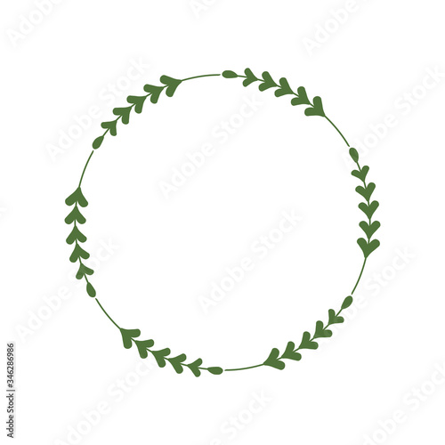 Obraz na plátně Round frame of green twigs with leaves