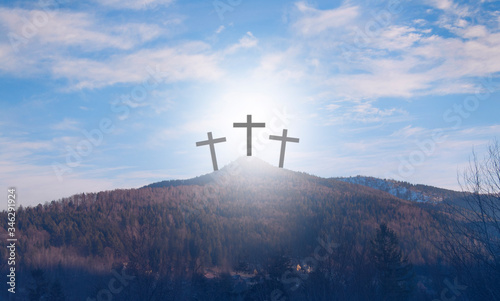 Wooden cross on the mountain Canvas Print