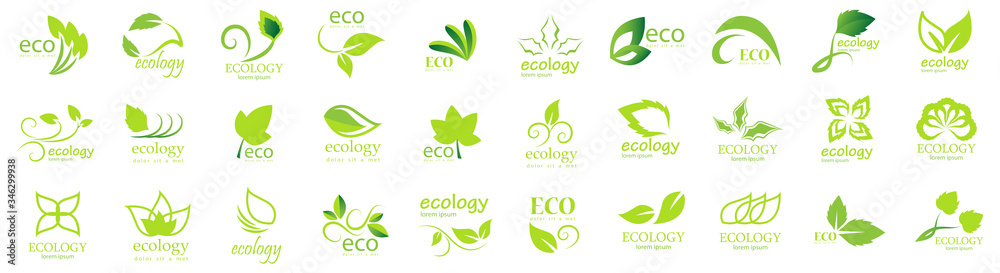 Fototapeta Collection Of Eco And Organic Logo Set - Isolated On White Background - Vector. Eco And Organic Logo Useful For Leaf Icon, Ecology Logo, Eco Symbol And Template Design. Ecology Tree Icons