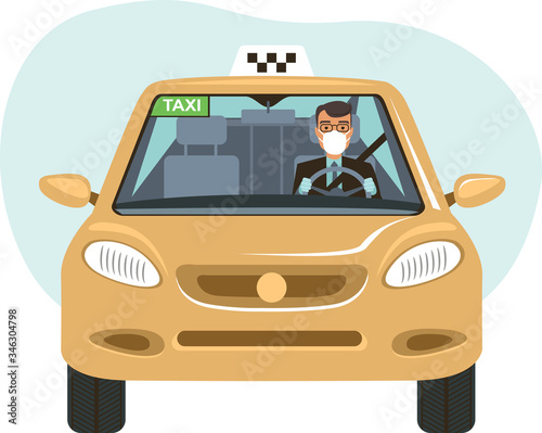 Canvas Print Taxi driver wearing protective medical mask ffp3 respirator and disposable gloves in his car