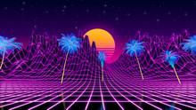 80s Retrowave Neon Background....
