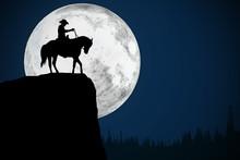 Cowboy And Full Moon