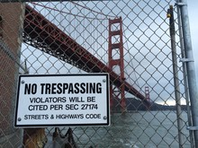 No Trespassing Sign On Chainli...